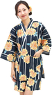 Nishiki【日本代購】和式清涼居家服 睡衣 上下套裝 棉100%-鉄紺地ヒマワリ