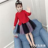 女童套裝裙 童裝女童毛衣套裝大碼新款秋冬中大兒童冬裝寶寶套裙兩件套 qf13620【黑色妹妹】