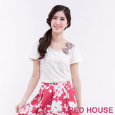 RED HOUSE-蕾赫斯-蕾絲拼接棉T恤(共3色)