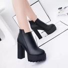 短靴 高跟 裸靴 馬丁靴英倫風短靴女春秋單靴 女鞋新款時尚高跟鞋百搭女士皮靴