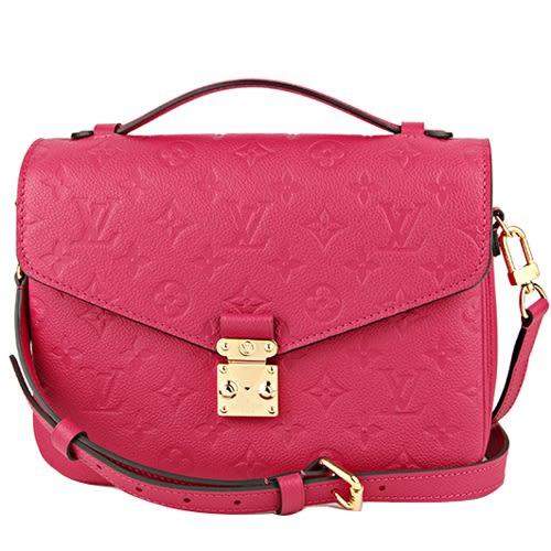 Louis Vuitton LV M44291 Pochette Métis 經典花紋皮革壓紋手提兩用包 桃紅 全新 預購【茱麗葉精品】
