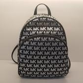 美國Michael Kors黑色/銀色MK LOGO刺繡布面設計 後背包 限時特賣$5980 限量款買大包送小包