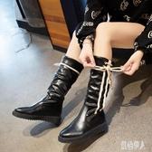 中筒靴女2019秋冬新款加絨增高英倫風平底復古時尚韓版街拍馬丁靴 PA10658『紅袖伊人』