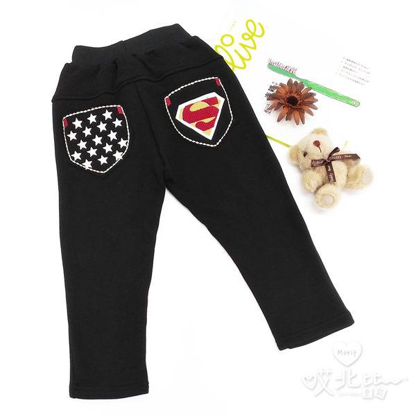 純棉 星星超人口袋刷毛棉褲 長褲 保暖 男童 韓版 男童 童裝【哎北比童裝】