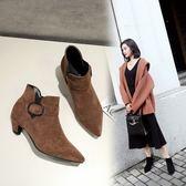 {丁果時尚}大尺碼女鞋34-46►韓版甜美風絨皮扣飾尖頭踝靴中跟短靴子*4色