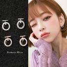 925純銀針  韓國優雅氣質  T字滿鑽圓圈 耳環-維多利亞181047