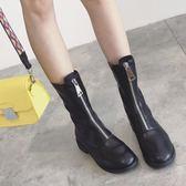 靴復古ins馬丁靴女夏季前拉鏈短筒內增高圓頭百搭白色倒短靴   提拉米蘇