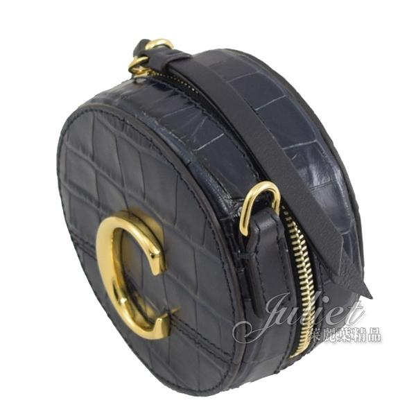 茱麗葉精品【全新現貨】CHLOE 金屬C Mini 鱷魚紋斜背圓型包.深藍