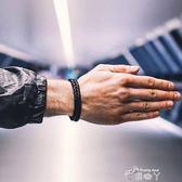 手鍊 歐美簡約個性黑色雙層皮手繩流行手飾男女潮情侶復古編織手鍊學生 俏腳丫