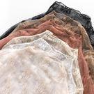 黑色高領時尚蕾絲打底衫女透明網紗內搭鏤空紗網超仙上衣【免運+滿千折百】