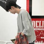 夏季五分袖男t恤韓版寬鬆個性潮流bf原宿風學生百搭中袖 男七分袖『CR水晶鞋坊』