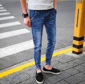 夏季男款修身牛仔韓版街頭潮流青少年百搭彈力小腳長褲 QQ363『樂愛居家館』