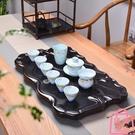 茶盤實木整塊平板排水式茶海功夫茶具茶臺托盤干泡【匯美優品】