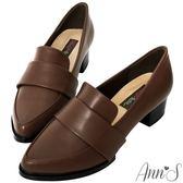 Ann'S時髦復古-韓系粗跟紳士休閒便鞋 復古棕