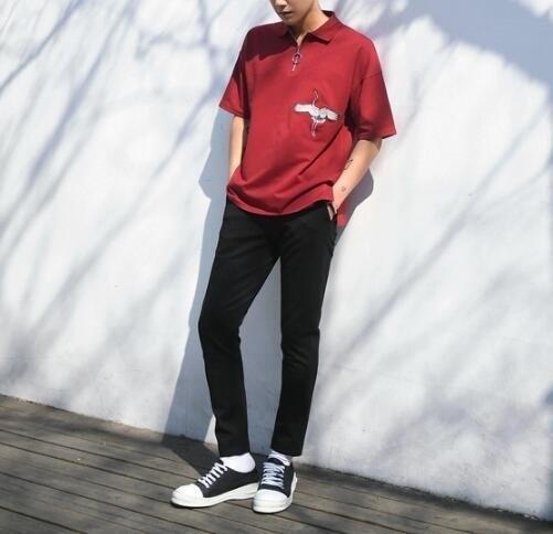FINDSENSE MD 日系 時尚 潮 男 仙鶴 動物圖案 拉鏈 短袖POLO