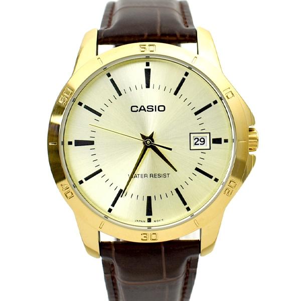 CASIO手錶 金面日期咖色皮革錶NECK10