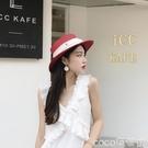 熱賣平頂帽春夏白色網紅同款平頂草帽女名媛優雅防曬遮陽帽子海邊度假沙灘帽 coco