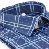【金‧安德森】深藍底白線格窄版長袖襯衫