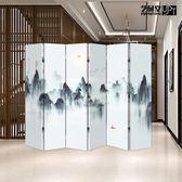 中式屏風布藝隔斷折疊客廳移動簡約現代小戶型臥室辦公室雙面折屏 xw 【限時82折】