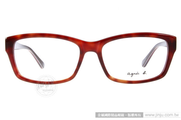 agnes b. 光學眼鏡 ABP235 Y04 (琥珀紅) 法式簡約 平光鏡框 # 金橘眼鏡
