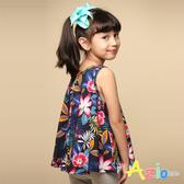 Azio 女童 上衣 下擺傘狀蕾絲印花無袖上衣(藍) Azio Kids 美國派 童裝