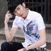 青少年夏季新款韓版男士短袖襯衫男修身百搭印花個性襯衣潮男寸衫『櫻花小屋』