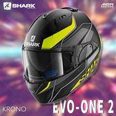 [中壢安信]法國SHARK EVO-ONE 2 彩繪 KRONO 消光黑黃 可樂帽 全罩 可掀式 安全帽 內墨片