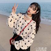 春裝女裝韓版chic寬鬆V領波點蕾絲襯衫學生長袖休閒打底襯衣上衣『小淇嚴選』