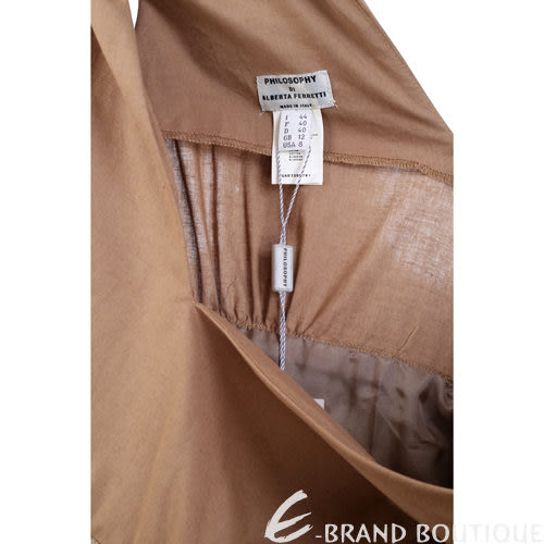 PHILOSOPHY 駝色異材質拼接短袖洋裝 0720077-02