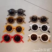 兒童墨鏡寶寶防紫外線太陽眼鏡男女童復古太陽鏡小孩百搭圓框眼鏡 小天使