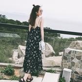 洋裝-細肩帶露背羽毛印花雪紡女連身裙73pu126[巴黎精品】