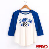 SPAO女款美式拼色七分袖棒球T恤-共2色