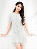 春裝上市[H2O]多種蕾絲拼接雪紡五分袖顯瘦及膝洋裝 - 白/粉/淺藍綠色 #0674001