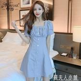 寧莎夏季韓版新款時尚氣質洋裝女收腰甜美泡泡袖A字短裙潮 錢夫人小鋪