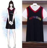 長版衣休閒洋裝L-4XL/中大尺碼網紅串色遮肚顯瘦針織連衣裙R22.9061胖胖唯依