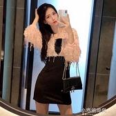 秋冬新款長袖性感氣質亮片流蘇收腰包臀洋裝韓版顯瘦打底裙 免運快出