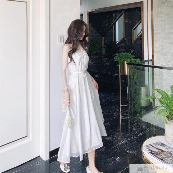 白色吊帶洋裝女夏裝2021年新款法式復古小眾初戀氣質過膝長裙子 萬聖節狂歡