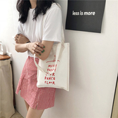 帆布袋 字母 印花 帆布包 簡約 手提袋 環保購物袋--手提/單肩【SPA176】 icoca  07/19