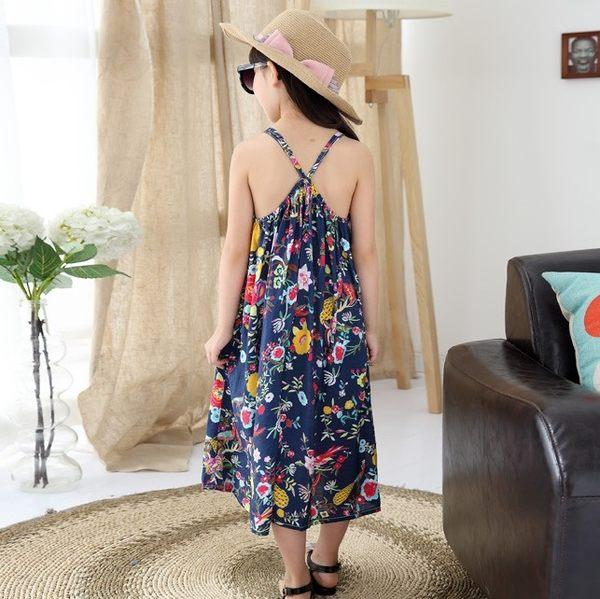 衣童趣 ♥中大女童 韓版碎花長洋裝 細肩帶 薄透 舒適 波西米亞 渡假連身長裙