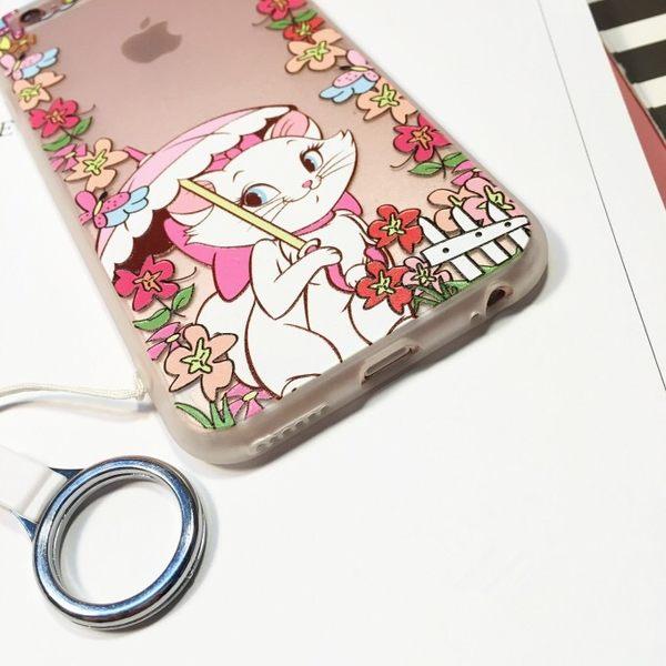 iPhone手機殼 可掛繩 浮雕花 豔陽下洋傘瑪莉貓 硬殼軟邊 蘋果iPhone7/iPhone6/iPhone5手機殼