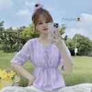 夏季2021新款洋氣短袖雪紡襯衫女設計感V領紫色薄款碎花短款上衣 【端午節特惠】