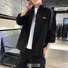 襯衫男韓版潮流工裝帥氣七分短袖牛仔很仙的襯衣夏季寬松休閒外套 快速出貨