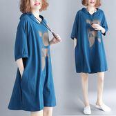 大碼連身裙減齡女裝2019夏裝韓版寬鬆大碼連帽t恤連身裙顯瘦洋氣中長款 【低價爆款】