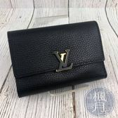 BRAND楓月 LOUIS VUITTON LV M62157 CAPUCINES 黑荔枝 中夾 錢包 短夾