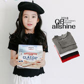女童上衣 木耳捲波浪貼身短袖T恤 韓國外貿中大童 QB allshine