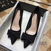 細跟高跟鞋 2021年春秋新款網紅黑色工作尖頭高跟鞋女細跟設計感小眾中跟單鞋 交換禮物