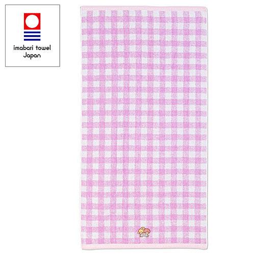 【震撼精品百貨】Little Twin Stars KiKi&LaLa_雙子星小天使~日本製今治純棉浴巾(紫格紋)#66989
