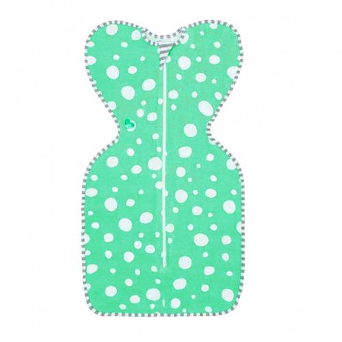 澳洲 Love To Dream SWADDLE UP 專利蝶型包巾(一般款) Stage1 穿著式設計款-綠底點(S/M)【佳兒園婦幼館】