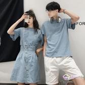 t恤 情侶裝一套兩件夏裝可愛風條紋短袖T恤衫男韓版學生你衣我裙套裝 【星時代生活館】