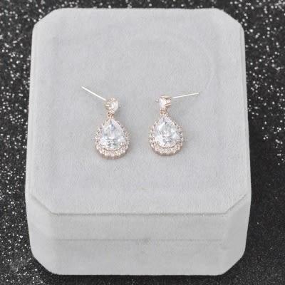 耳環 925純銀 鑲鑽-古典優美生日情人節禮物女飾品2色73hz96【時尚巴黎】